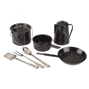 COLEMAN 8-PIECE ENAMEL COOKING SET BLACK