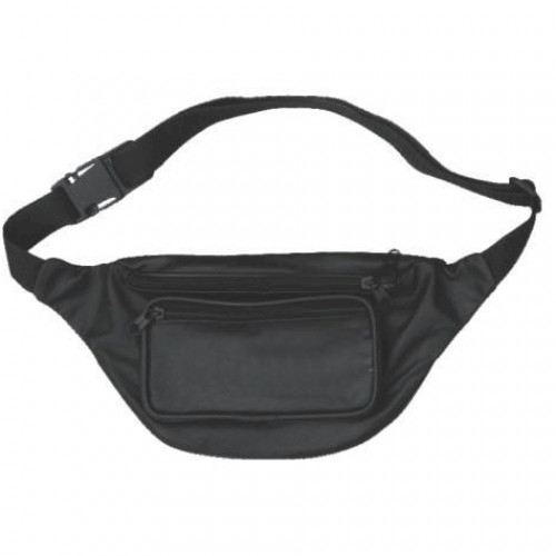 Black Genuine Leather Fanny Bag This black, solid leather fanny bag, also known as a waist bag, fanny pack or belt bag can be used to tote small items such as wallets, keys, money or other everyday-use items. This is perfect for motorcycle bikers or trips to the park. Stow your small items in a convient and stylish belt bag that is safe and secure. The genuine solid leather is soft and smooth and the rich black color easily matches most any outfit. Buy genuine leather fanny bags
