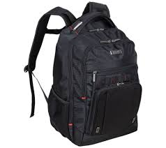 "RFID with USB Port 15.6"" Laptop Backpack, Black With Red,"