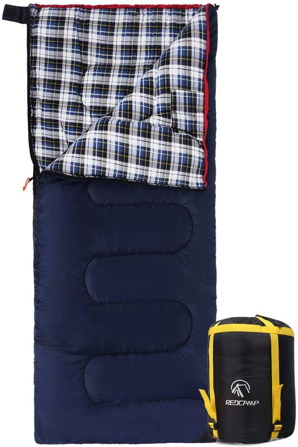REDCAMP Cotton Flannel Sleeping Bags for Camping, 3-Season